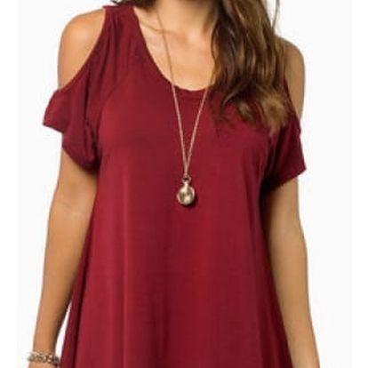 Dámské volné tričko s otvory na ramenou - Červená, velikost 6