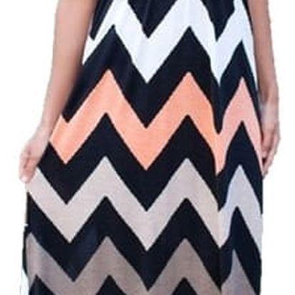 Dámské dlouhé šaty s geometrickými obrazci