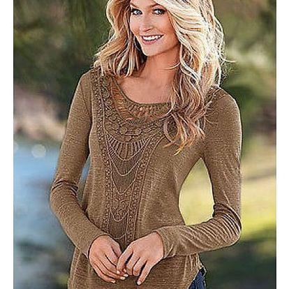 Dámské tričko s dlouhým rukávem a krajkou - Hnědé, velikost 4