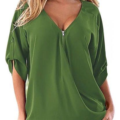 Stylový top se zipem pro ženy - zelená - velikost 7