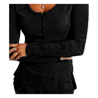 Tričko s krajkovými rukávy - Černá - 2