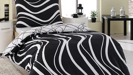 Night in Colours Bavlněné povlečení Arogant černá, 140 x 220 cm, 70 x 90 cm