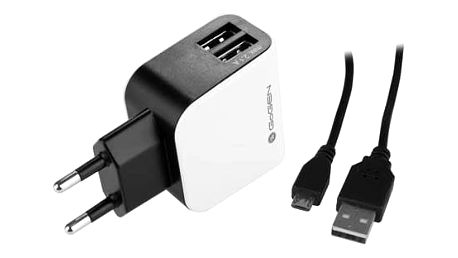 Nabíječka do sítě GoGEN ACH 201 C, 2x USB + microUSB kabel 1,2m (GOGACH201C) černá/bílá + Doprava zdarma