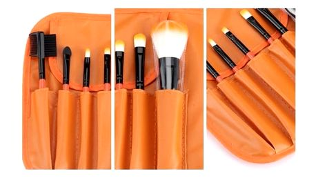 Kosmetické štětce s taštičkou - 7 ks - Oranžová