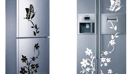 Samolepka na ledničku - motýl s květinou - černá