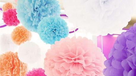 Sada papírových pomponů na párty - 10 barev