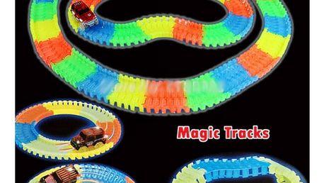 Svítící autodráha s autíčkem Magic Tracks 56 dílků