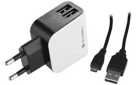 GoGEN ACH 201 C, 2x USB + microUSB kabel 1,2m (GOGACH201C) černá/bílá