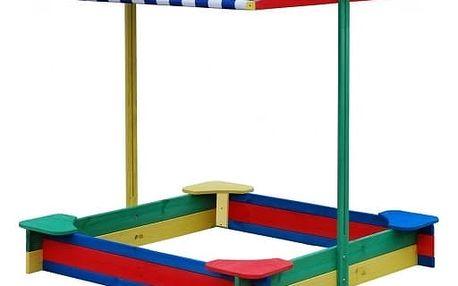 Marimex Dřevěné barevné pískoviště se stříškou - 11640143