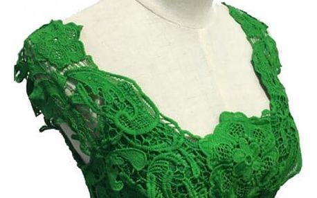 Krajkové šaty bez rukávů - zelená-5