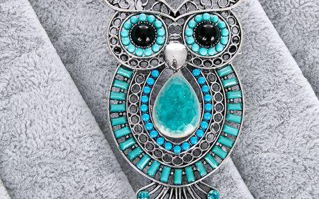 Fashion Icon Brož sova etno styl velká