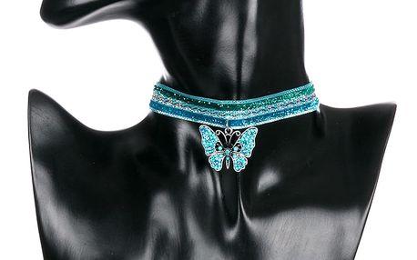 Fashion Icon Náhrdelník krajkový choker Motýl s krystalky