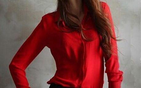 Dámská šifónová košile v pěti barvách - červená, velikost 2
