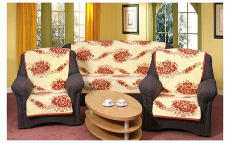 Bellatex Přehozy na sedací soupravu Karmela Kvítí cihlové, 150 x 200 cm, 2 ks 65 x 150 cm