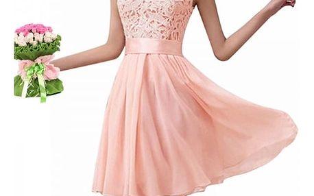 Dámské letní šaty s krajkovým topem - růžové - velikost č. 6
