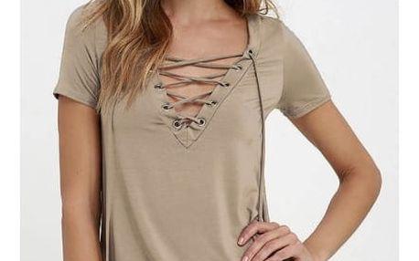 Dámské tričko s výstřihem a šněrováním - velikost 4