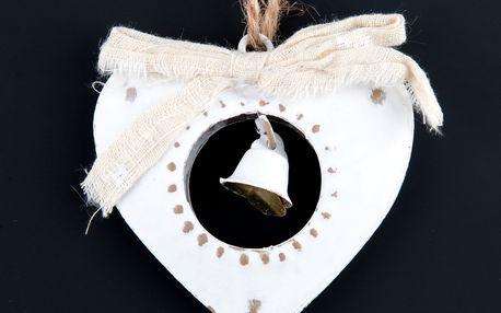 Dekorace Srdce se zvonečkem na zavěšení