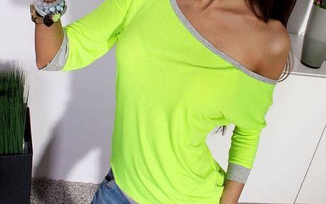 Tričko se spadlým rukávem - Zelená, velikost 2