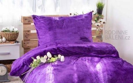 Dreaming Peacock povlečení mikroflanel JORGA - tmavě fialová 140x200, 70x90