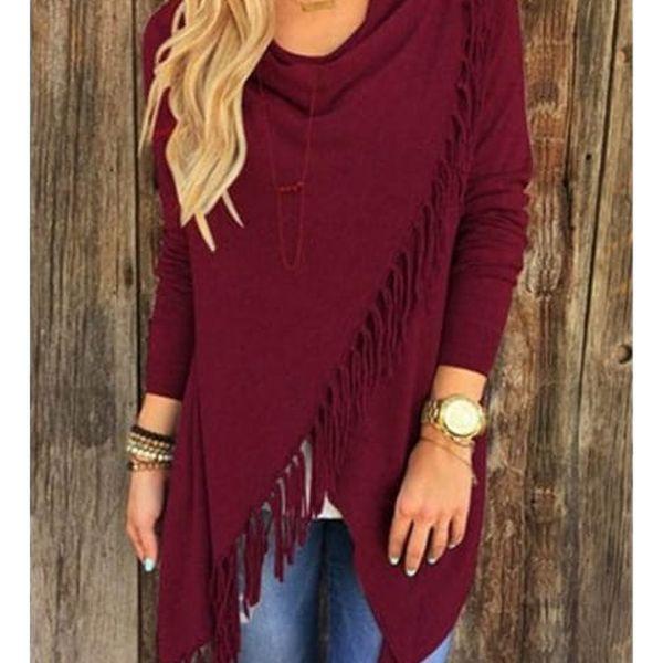 Dámský svetr na způsob ponča - třásně - červená, velikost 5