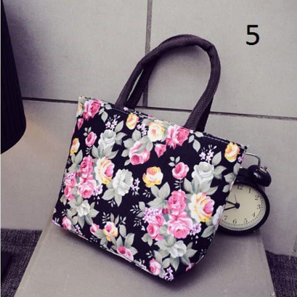 Dámská letní kabelka s květinovým vzorem - vzor 5 černá - dodání do 2 dnů