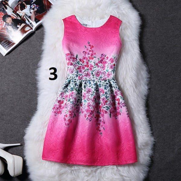 Dámské šaty bez rukávů s motivy přírody - varianta 3, velikost 5 - dodání do 2 dnů