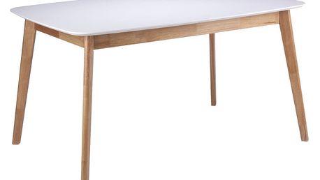 Bílý rozkládací jídelní stůl s nohami ze dřeva kaučukovníku sømcasa Enma, 120x75cm - doprava zdarma!