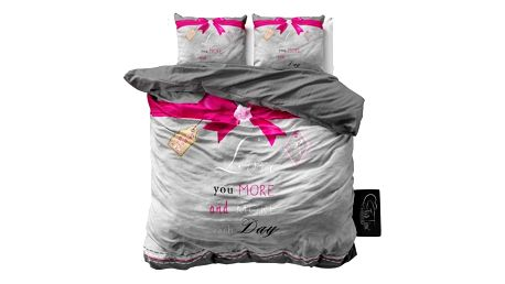Šedé povlečení z mikroperkálu Sleeptime More Love, 200x220cm