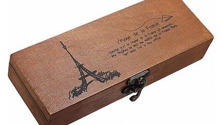 Dřevěná krabička s Eiffelovou věží