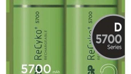 Baterie nabíjecí GP D, HR20, 5700mAh, Ni-MH, krabička 2ks (1033412010) zelená
