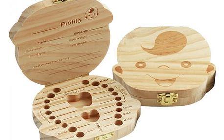 Dřevěná krabička na dětské zoubky - holka