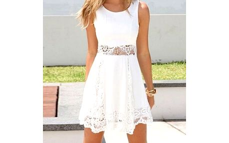 Letní bílé šatičky s krajkou - velikost č. 4 - dodání do 2 dnů