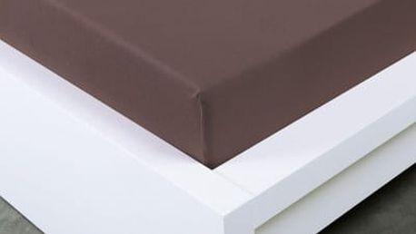 XPOSE ® Jersey prostěradlo Exclusive dvoulůžko - tmavě hnědá 160x200 cm