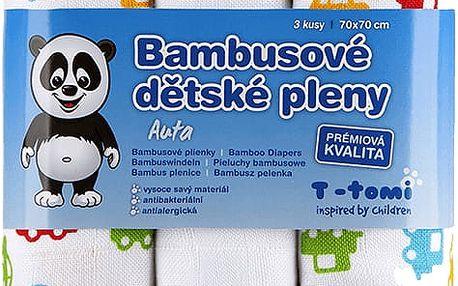 T-TOMI Bambusové BIO pleny, sada 3 ks, auta