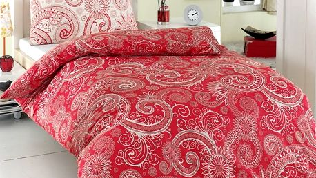 Night in Colours Bavlněné povlečení Sal červená/bílá, 140 x 200 cm, 70 x 90 cm