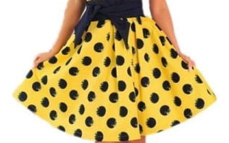 Retro puntíkované šaty pro dámy - Žlutá-vel. 3