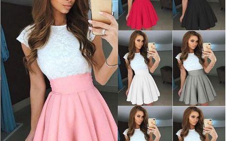 Široká dámská sukně s vysokým pasem Amber