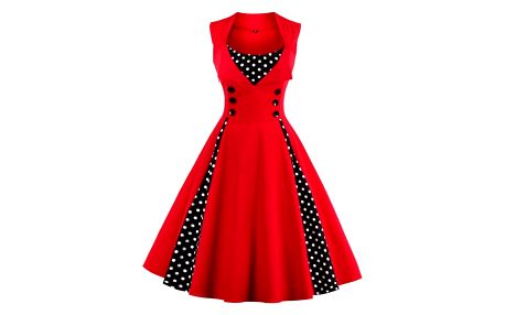 Retro šaty s puntíky - mix barev