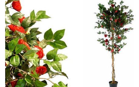 Umělá květina - kamélie červená - 200 cm