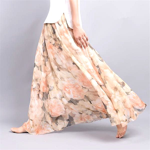 Lehoučká a vzdušná letní sukně - Varianta 4 - Délka sukně 90 cm - dodání do 2 dnů