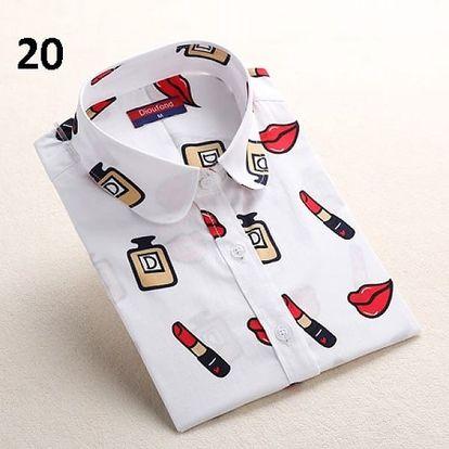 Dámská košile s pestrými potisky - dlouhý rukáv - varianta 20 - velikost č. 2