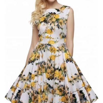 Květinové letní šaty ve swingovém stylu - varianta 17, vel. 2