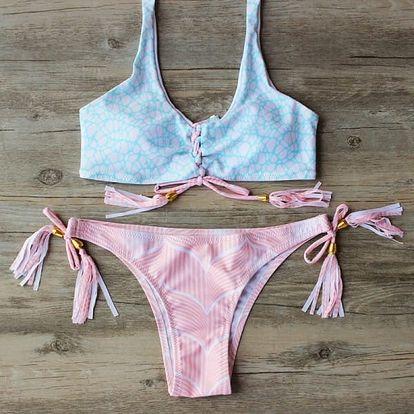 Bikiny s třásněmi a korálky - Růžová, velikost 2
