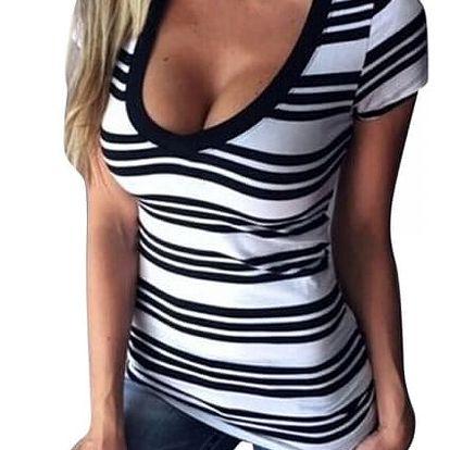 Dámské pruhované triko s výstřihem - Bílá - velikost č. 3
