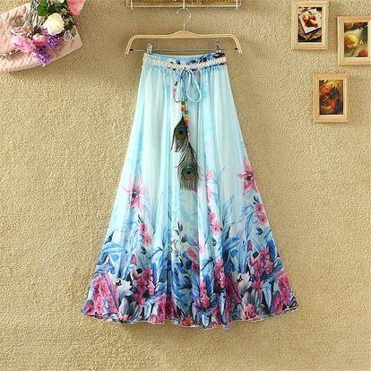 Lehoučká dlouhá sukně na jaro i léto - var. 18