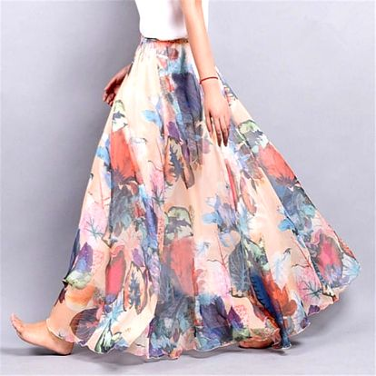 Lehoučká a vzdušná letní sukně - Varianta 1 - Délka sukně 90 cm
