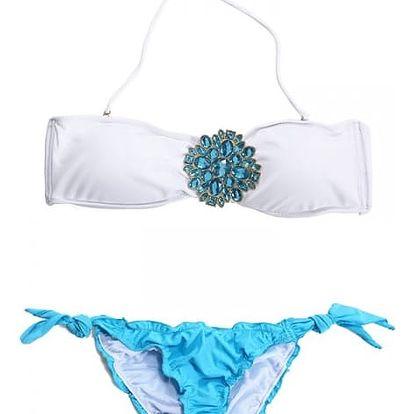 Dámské plavky s atraktivní ozdobou - Modrá, velikost 2