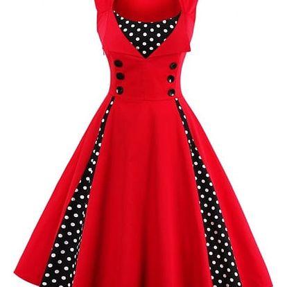 Retro šaty s puntíky - Červená - velikost č. 7