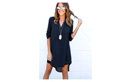 Lehké dámské šaty s dlouhým rukávem - modré, vel. 2