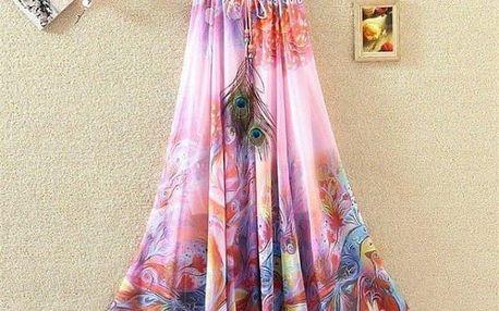 Rozmanitá sukně s ozdobným pavím pírkem na léto - dlouhá - var. 15